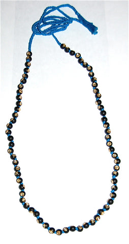 Mat black onyx bead each with polki diamond necklace
