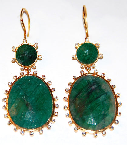Emerald Jamie with diamond surrounding earring