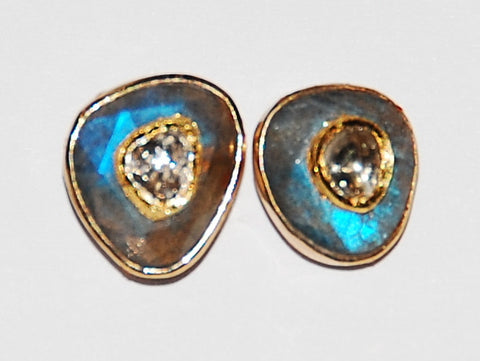 Lois labradorite blue fire polki diamond earring.