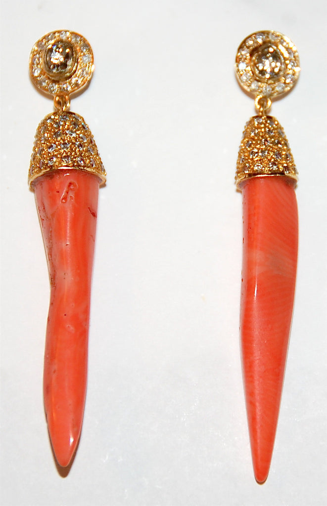 Coral spear with paved diamond cap rose cut center earring