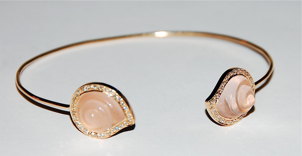 Rose quartz round shell paved diamond cuff