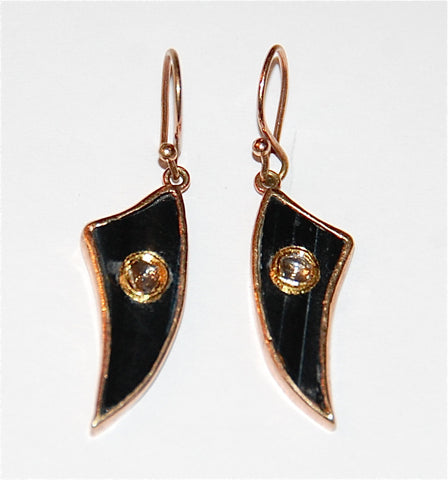Black tiger eye fin polki earring