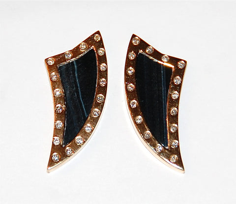 Black tiger eye fin with flush diamonds