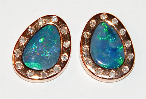 Opal flush setting earring