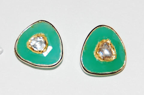 Lois chrysoprase polki diamond earring
