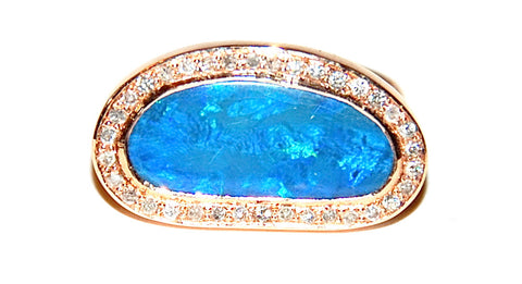 Opal with pave diamond ring