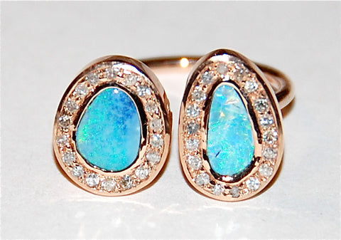 Double opal with pave diamond ring