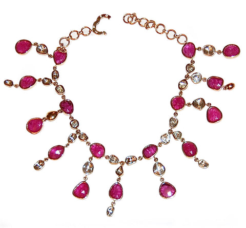Rose cut diamond and rubies anklet