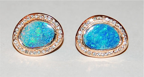 Opal pave setting earring