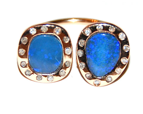 Double blue opal with flush diamond ring