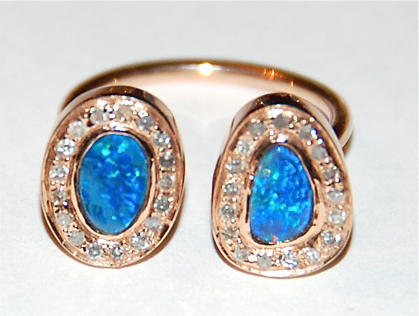 Opal with pave setting ring