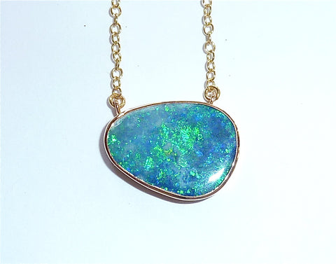 Blue green opal pendant necklace