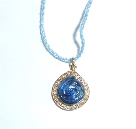 Kyanite paved diamond on single cotton ball cord