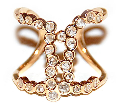 Waterfall cognac rose cut diamond ring