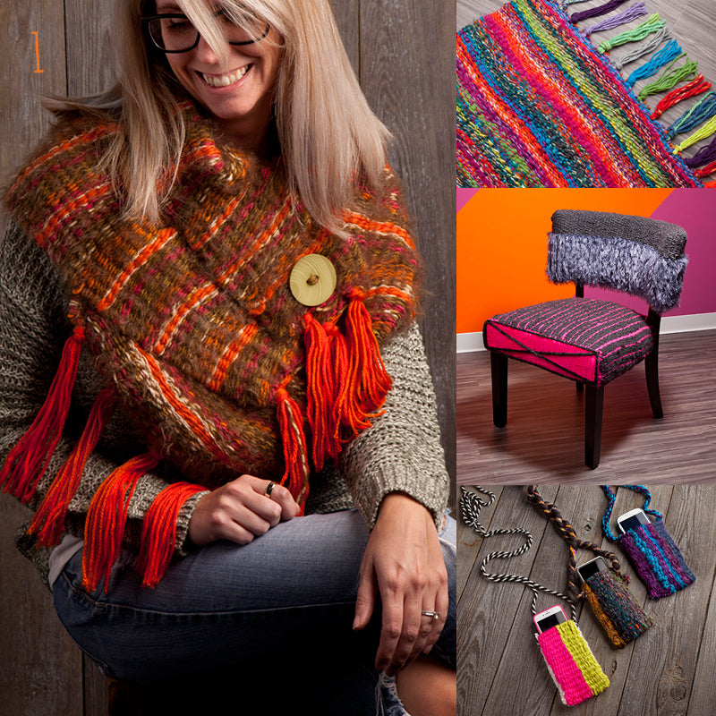 Loopdeloom weaving examples: Scarf, rug, chair, phone cases