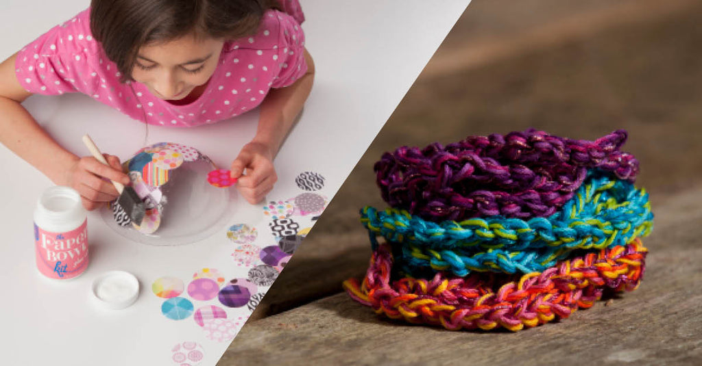 Craft-tastic paper bowl kit and finger crochet kit