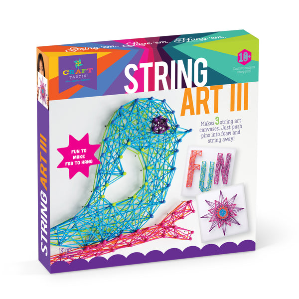 Craft-tastic Stacked String Art Unicorns