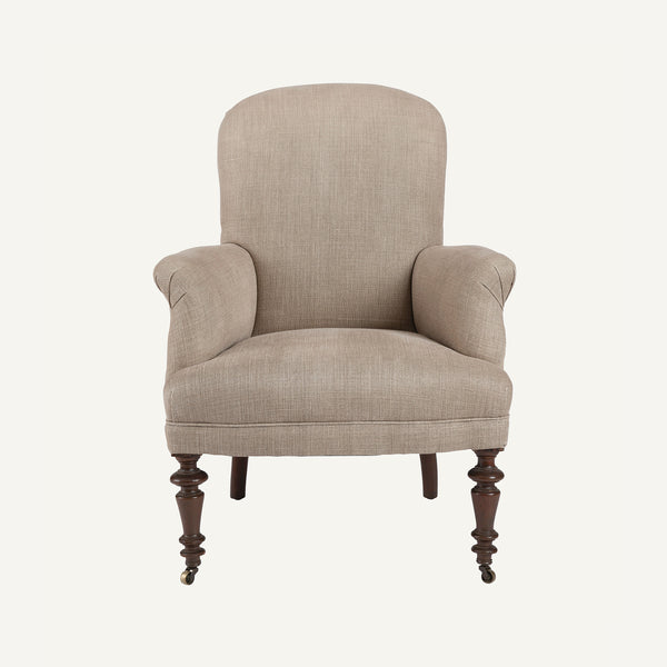 ANTIQUE UPHOLSTERED PETITE ARMCHAIR