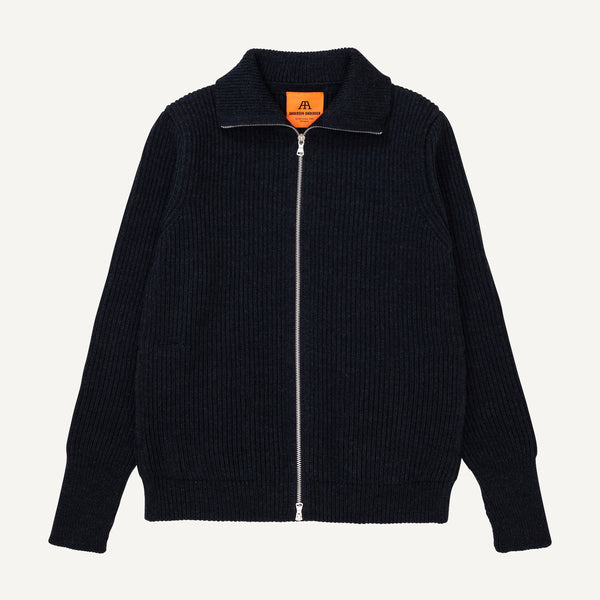 ANDERSEN-ANDERSEN NAVY FULL-ZIP SWEATER