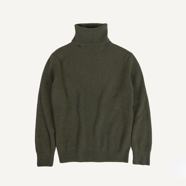 PLAIN GOODS CASHMERE RIBBED TURTLENECK