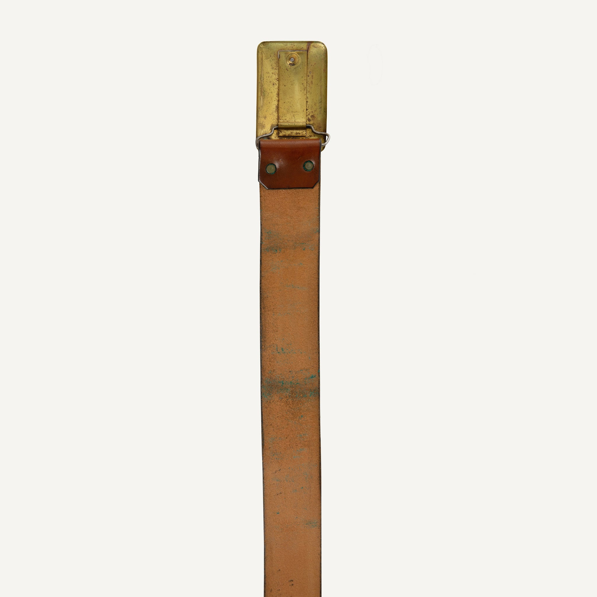VINTAGE BRIDLE LEATHER BELT WITH BRASS BUCKLE