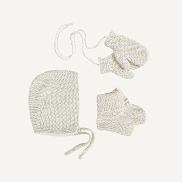 BABY ALPACA BONNET, BOOTIES AND MITTENS