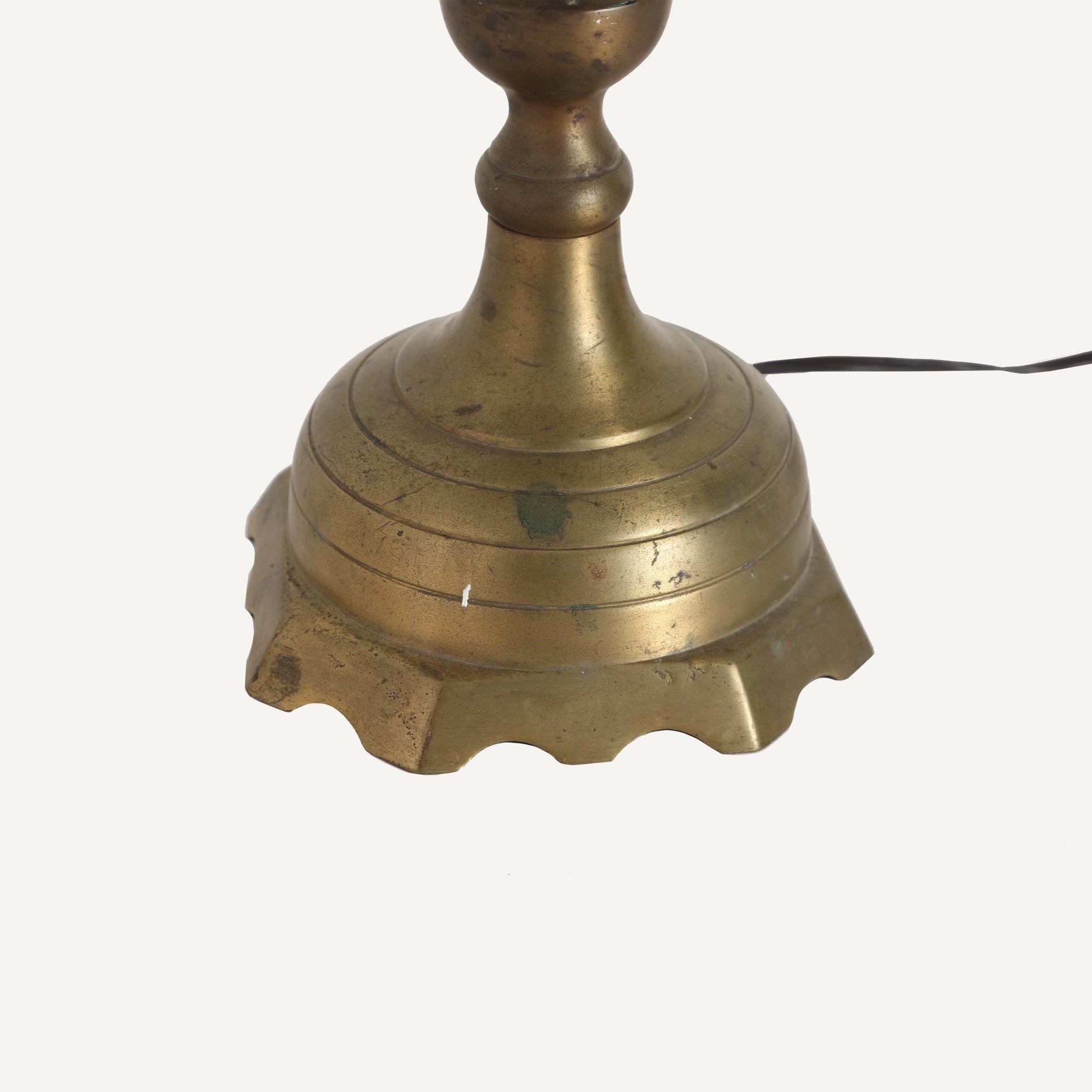 VINTAGE BRASS LAMP WITH BLACK PAPER SHADE