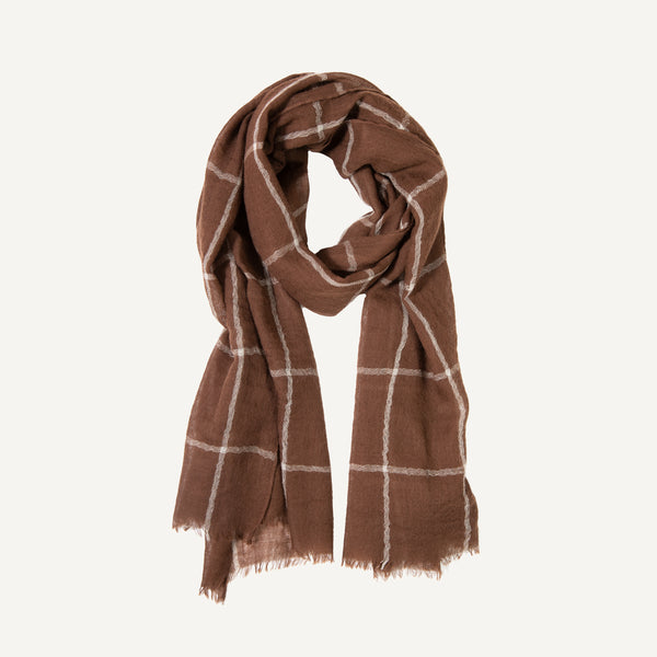 PLAIN GOODS FINE WOOL WINDOWPANE SCARF