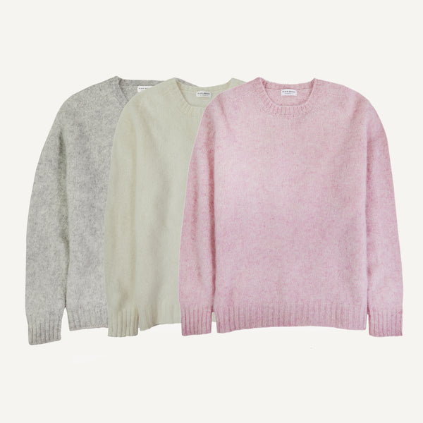 PLAIN GOODS BRUSHED SHETLAND SWEATERS