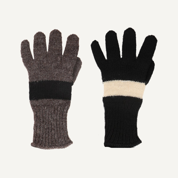 MHL BRITISH WOOL COLOR BLOCK GLOVES