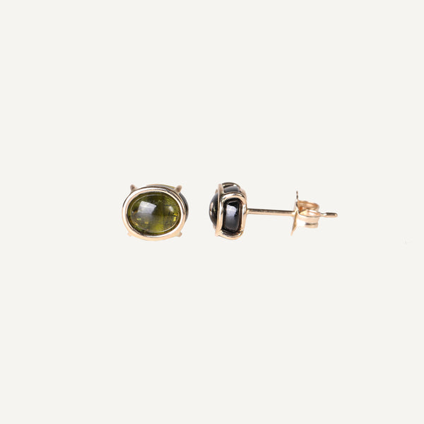 MARY MACGILL 14K FLOATING OLIVE TOURMALINE STUD EARRINGS