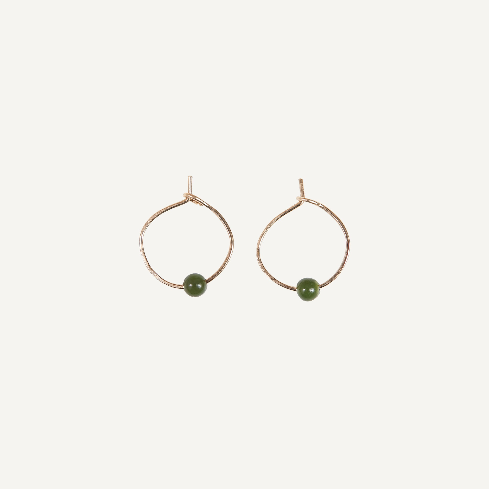 MARY MACGILL 14K HOOP WITH JADE
