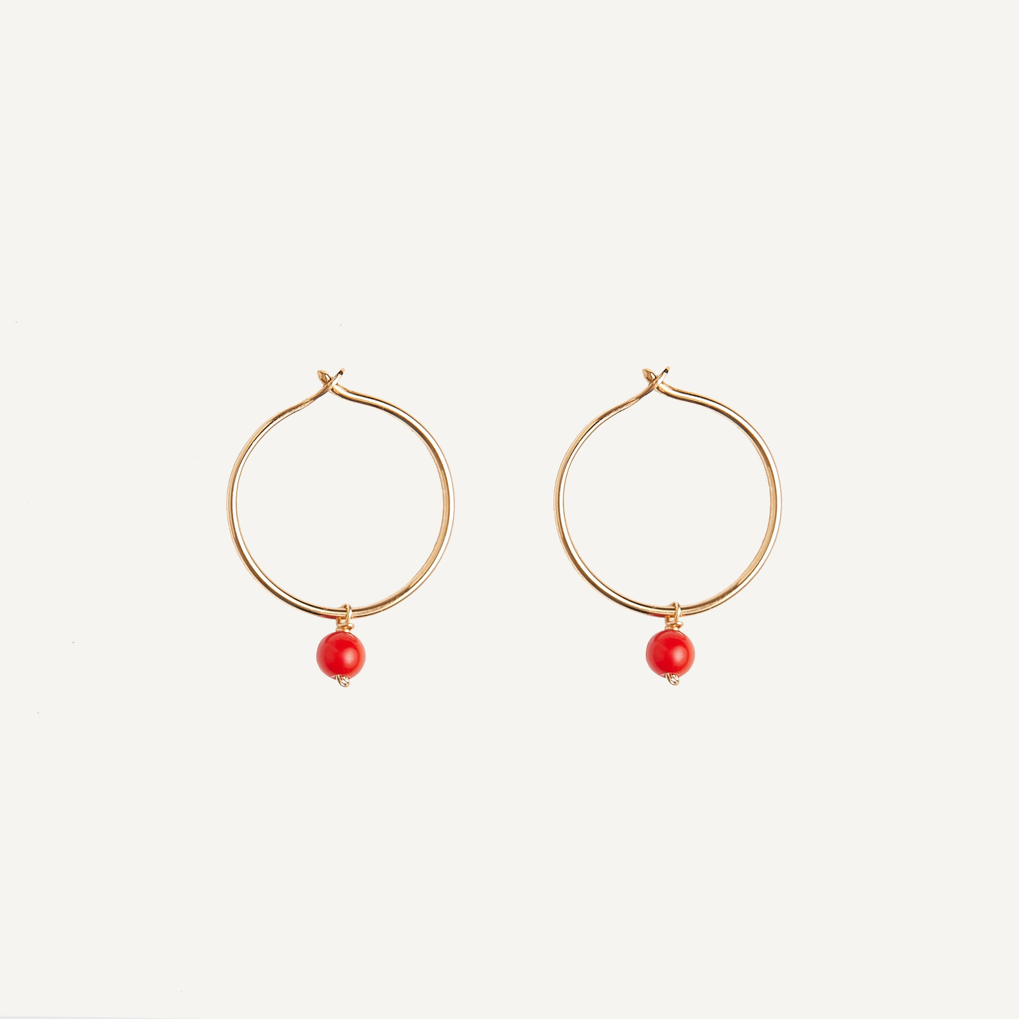 HELENA ROHNER 18K GOLD HOOPS WITH STONE BEAD
