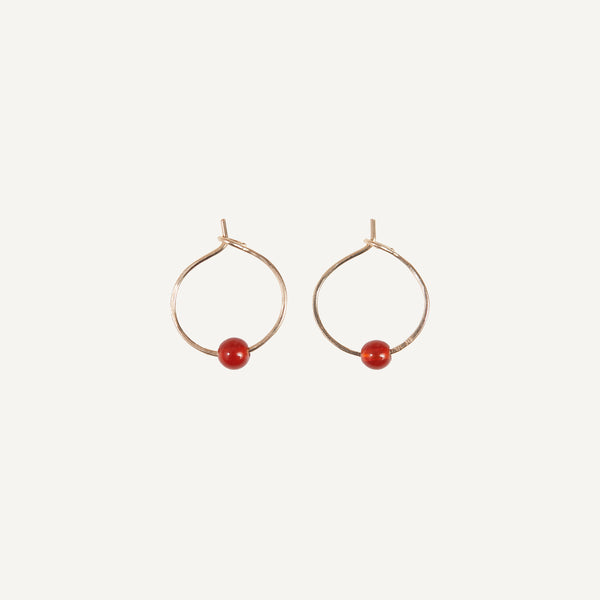 MARY MACGILL 14K HOOP WITH CARNELIAN