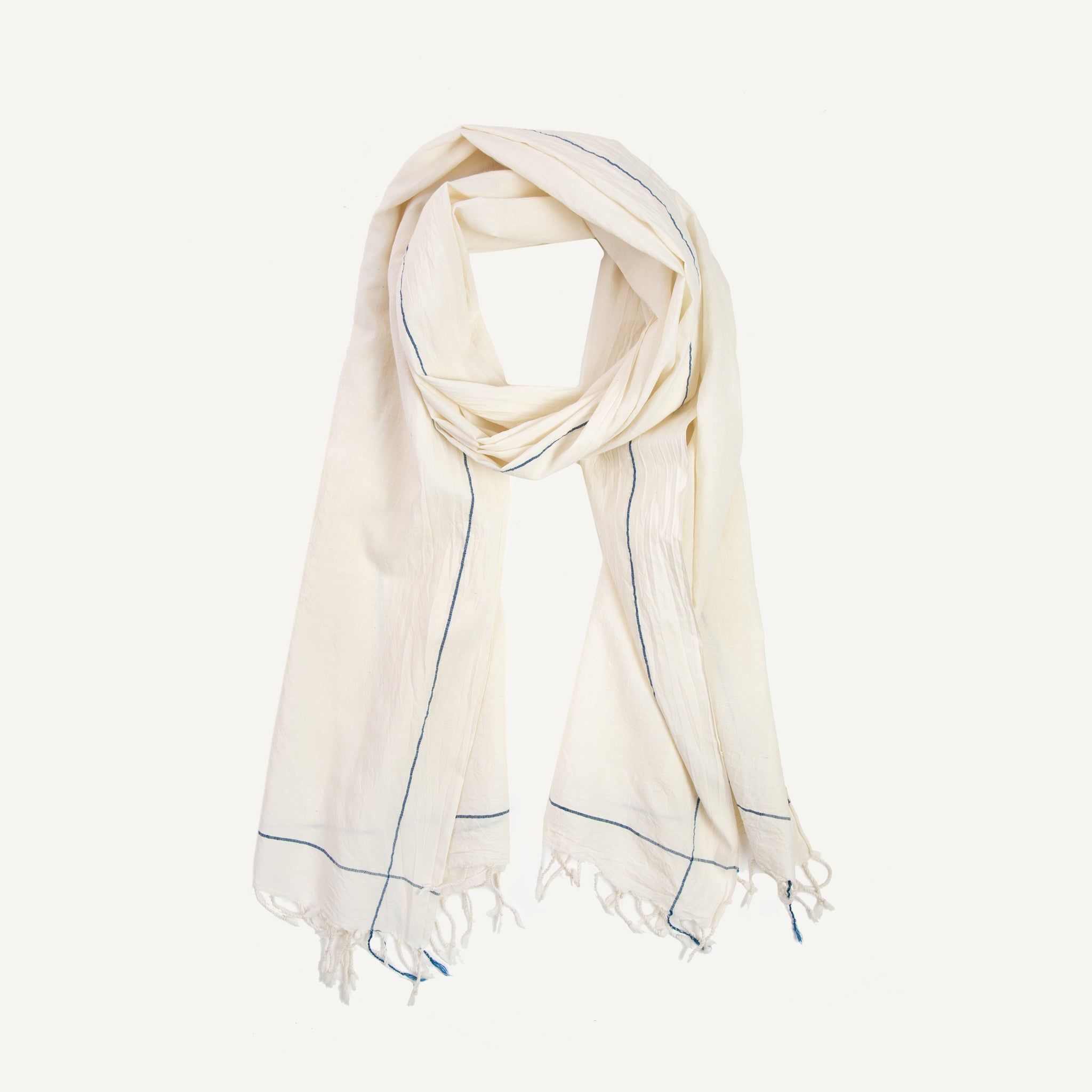 KHADI SCARF BLUE EDGE
