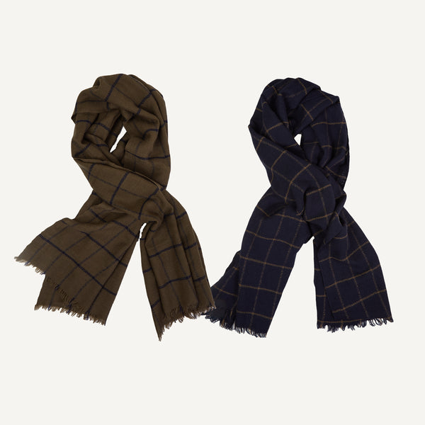 PLAIN GOODS WINDOWPANE SCARF
