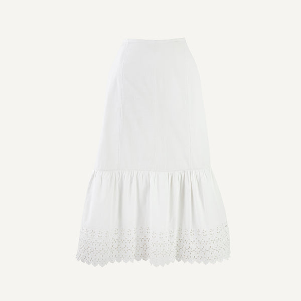 ANTIQUE PETTICOAT WITH EYELET RUFFLE