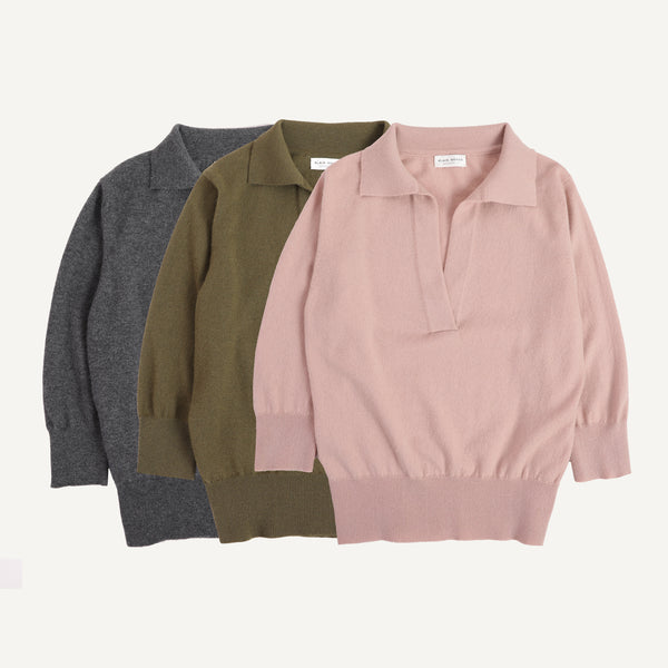 PLAIN GOODS CASHMERE POLO SWEATER