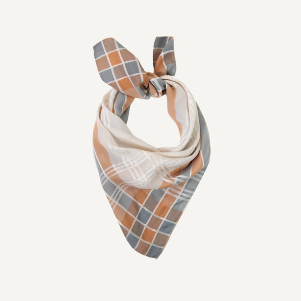 VINTAGE PLAID EDGE SILK SCARF