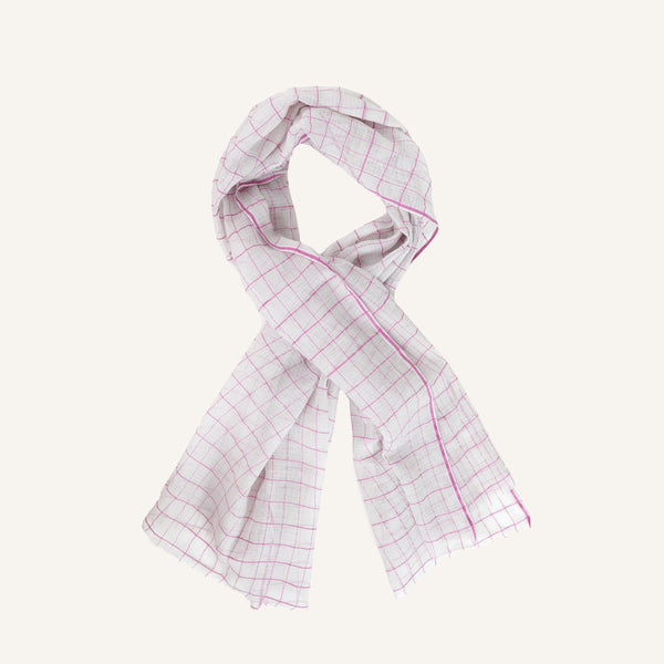 SARI SCARF WHITE WITH PINK CHECK