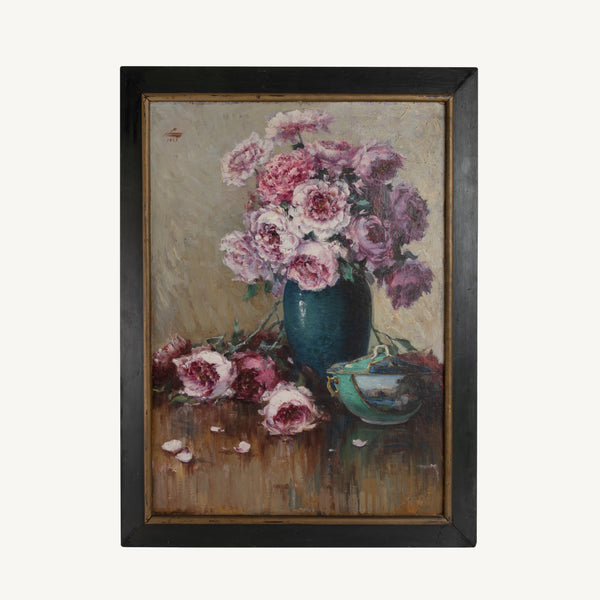 VINTAGE  STILL LIFE PAINTING OF PEONIES