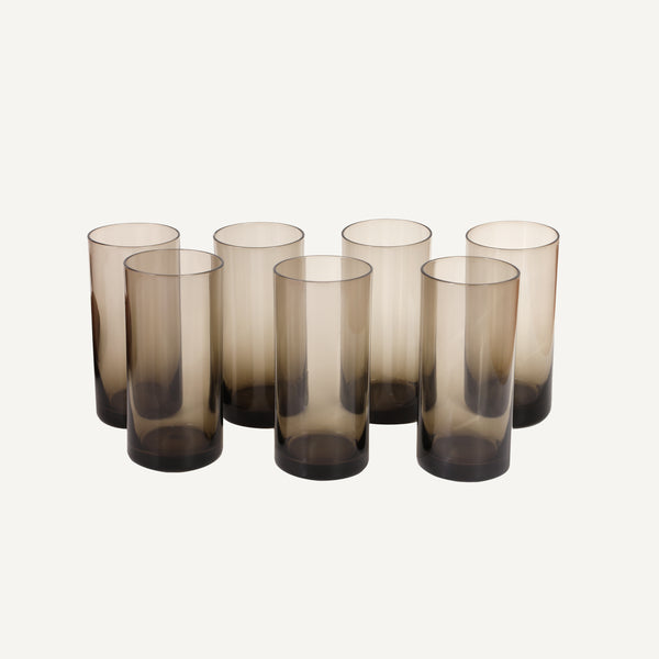 VINTAGE SMOKED GLASS TUMBLERS