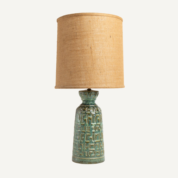 VINTAGE POTTERY LAMP WITH BURLAP SHADE
