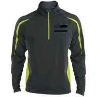 Black Ops Thin Blue Line Half Zip Sport Wick Jackets CustomCat Charcoal Grey/Charge Green X-Small