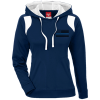 Black Ops Thin Blue Line Ladies Performance Hoodie Sweatshirts CustomCat Dark Navy/White X-Small