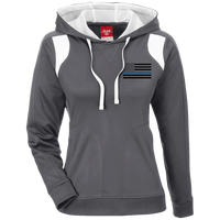 Black Ops Thin Blue Line Ladies Performance Hoodie Sweatshirts CustomCat Graphite/White X-Small