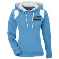 Black Ops Thin Blue Line Ladies Performance Hoodie Sweatshirts CustomCat Light Blue/White X-Small
