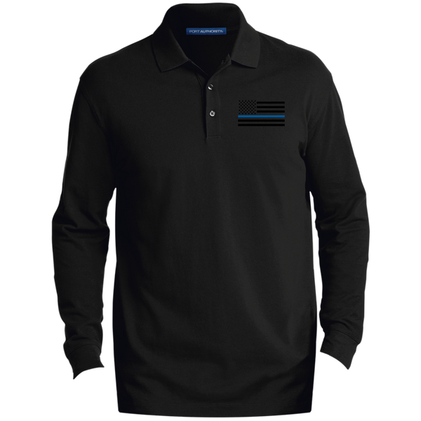 Black Ops Thin Blue Line Long-Sleeve Polo Polo Shirts CustomCat Black X-Small