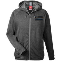 Black Ops Thin Blue Line Performance Zip Hoodie Sweatshirts CustomCat Dark Heather/Sport Grey X-Small