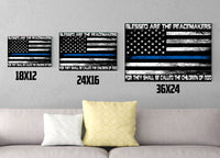 Blessed Are The Peacemakers White Thin Blue Line Flag Canvas Decor ViralStyle
